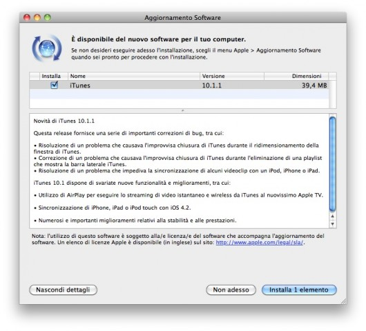 iTunes aggiornamento 10.1.1