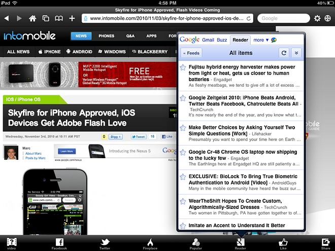 SkyFire arriva il Flash su iPad