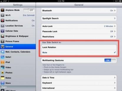 iPad funzione tasto mute