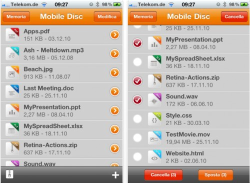 Mobile Disk per iPhone screenshot