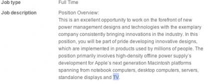 Annuncio di lavoro Apple alla ricerca di tecnici in campo televisione
