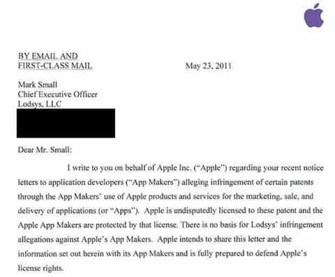 Lettera di Apple sul caso Lodsys